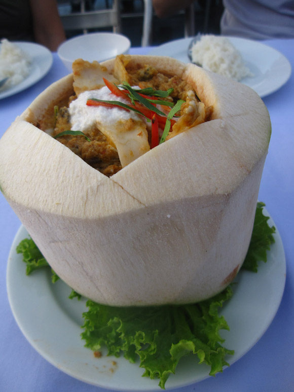 hor mok maprao on Hor Mok Ma Prao On (Seafood Curry in Coconut)